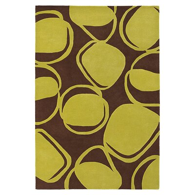 River Rock Hand Tufted Wool Chocolate/Kiwi Area Rug Rug Size: 5 x 8