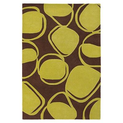 River Rock Hand Tufted Wool Chocolate/Kiwi Area Rug Rug Size: 8 x 10