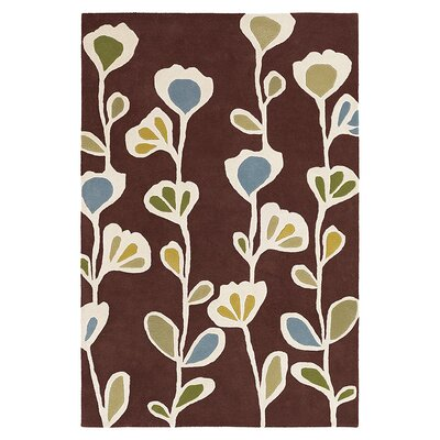 Stencil Hand Tufted Wool Chocolate Area Rug Rug Size: 5 x 8