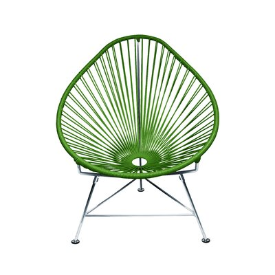 The Baby Acapulco Kids Papasan Chair Finish: Olive Green, Weave Finish: Chrome