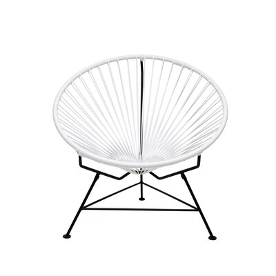 Papasan Chair Upholstery: White, Finish: Black