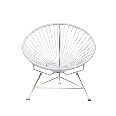 Papasan Chair Upholstery: White, Upholstery: Chrome