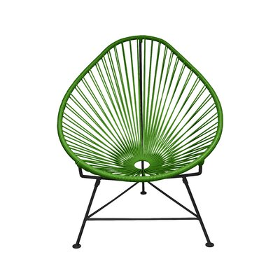 The Baby Acapulco Kids Papasan Chair Finish: Olive Green, Weave Finish: Black