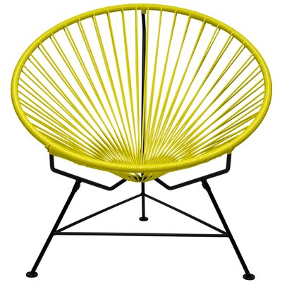 Papasan Chair Upholstery: Yellow, Finish: Black