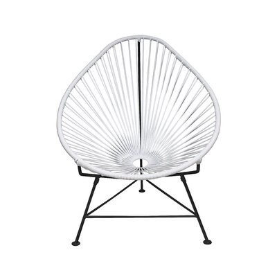 The Baby Acapulco Kids Papasan Chair Finish: White, Weave Finish: Black