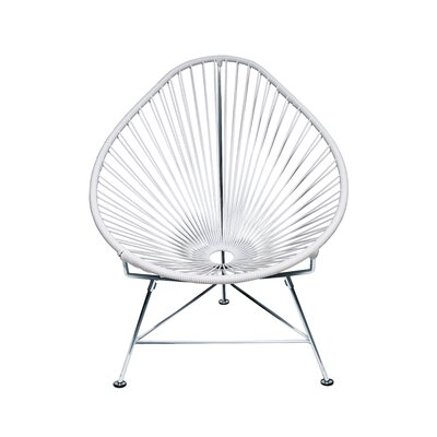 The Baby Acapulco Kids Papasan Chair Finish: White, Weave Finish: Chrome
