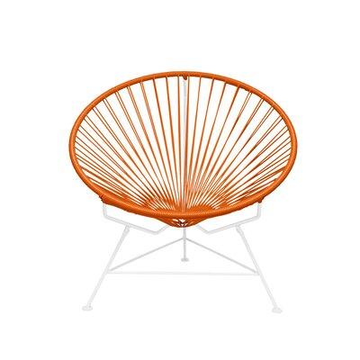 Papasan Chair Finish: White, Upholstery: Orange