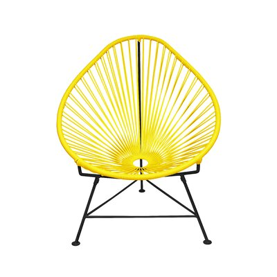 The Baby Acapulco Kids Papasan Chair Finish: Yellow, Weave Finish: Black