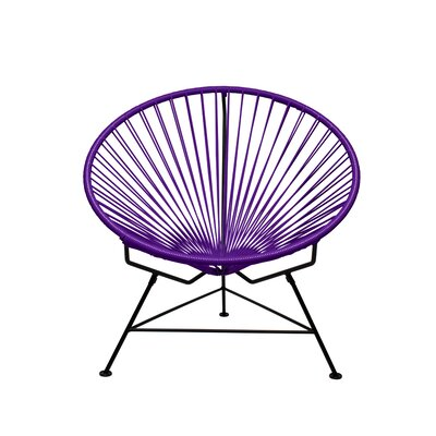 Papasan Chair Finish: Black, Upholstery: Purple