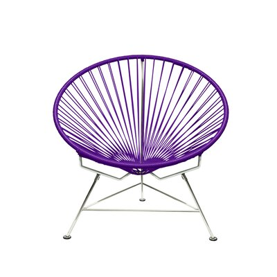 Papasan Chair Upholstery: Chrome, Upholstery: Purple