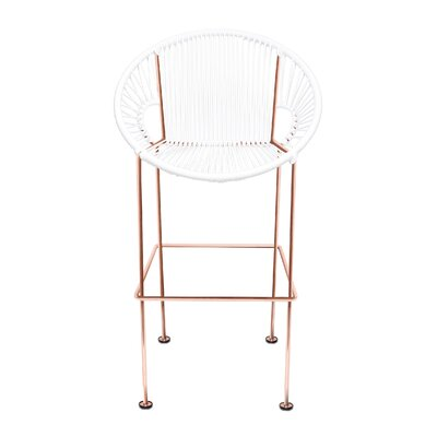 Puerto 26 Bar Stool Base Finish: Copper, Upholstery: Black