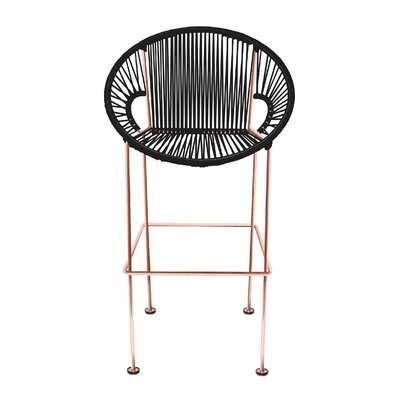 Cobblestone 31 Patio Bar Stool Base Finish: Copper, Upholstery: Black