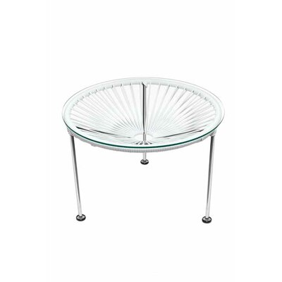 Zica End Table Base Finish: Chrome, Top Finish: White