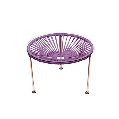 Cobby End Table Table Base Color: Copper, Table Top Color: Orchid