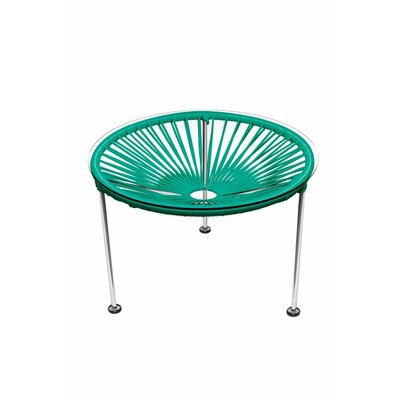 Zica End Table Base Finish: Chrome, Top Finish: Turquoise