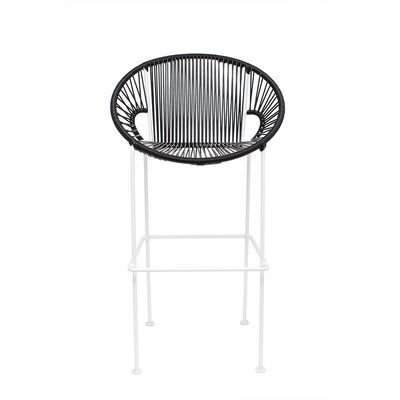 Cobblestone 26 Patio Bar Stool Base Finish: Black, Upholstery: White