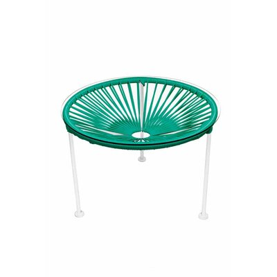 Zica End Table Base Finish: White, Top Finish: Turquoise