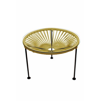 Zica End Table Base Finish: Black, Top Finish: Gold