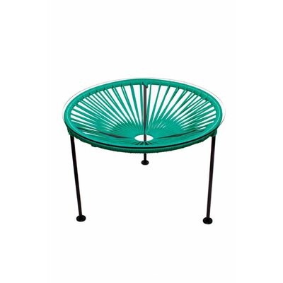 Zica End Table Base Finish: Black, Top Finish: Turquoise
