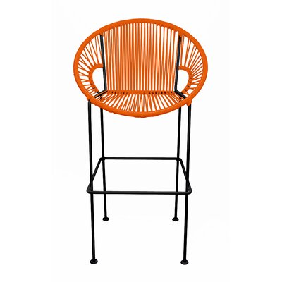 Cobblestone 26 Patio Bar Stool Base Finish: Black, Upholstery: Orange