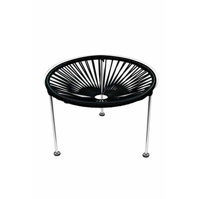 Zica End Table Base Finish: Chrome, Top Finish: Black