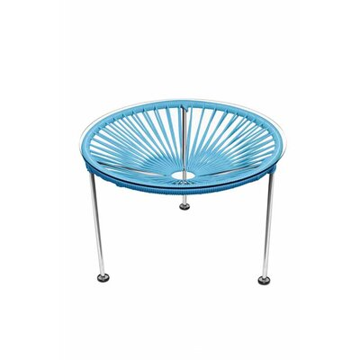 Zica End Table Base Finish: Chrome, Top Finish: Blue