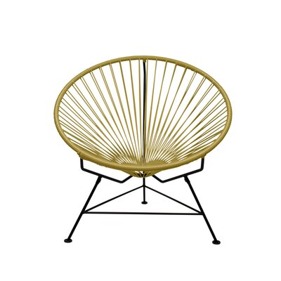 Papasan Chair Finish: Black, Upholstery: Gold