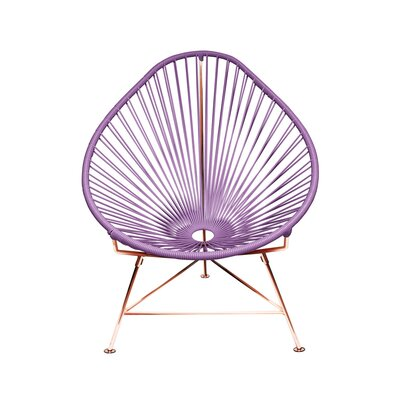 Borquez Papasan Chair Upholstery: Purple, Finish: Copper