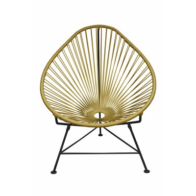 Canela Baby Pasadena Chair Upholstery: Black, Finish: Gold