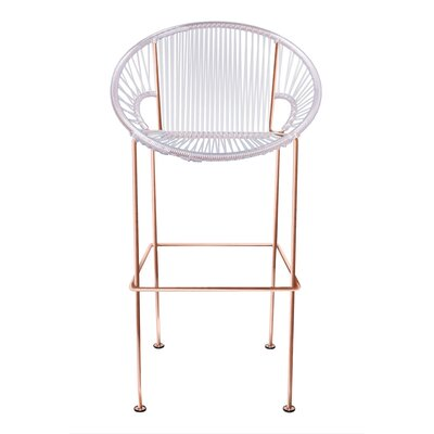 Cobblestone 26 Patio Bar Stool Base Finish: Copper, Upholstery: Clear