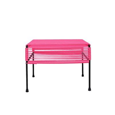 Ottoman Frame Color: Black, Weave Color: Pink