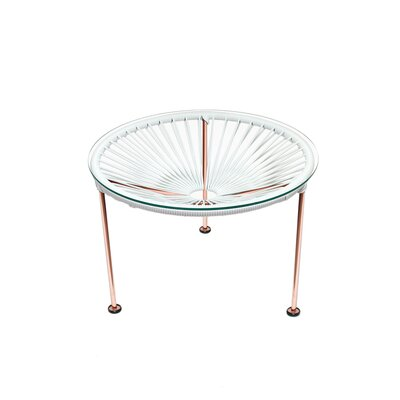Cobby End Table Table Base Color: Copper, Table Top Color: White