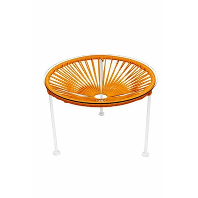 Zica End Table Base Finish: White, Top Finish: Orange