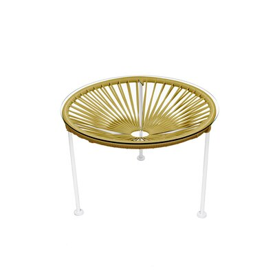 Zica End Table Base Finish: White, Top Finish: Gold
