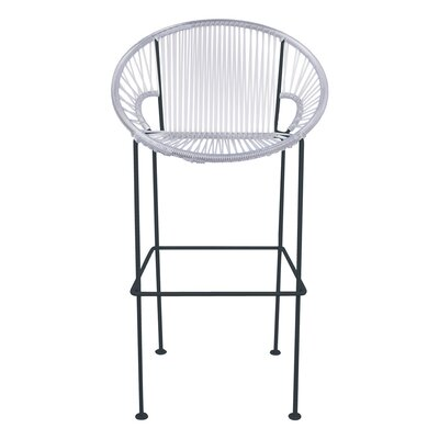 Cobblestone 31 Patio Bar Stool Base Finish: Black, Upholstery: Purple