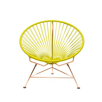 Papasan Chair Finish: Copper, Upholstery: Lime Yellow