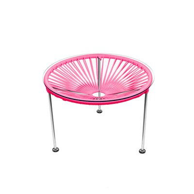 Zica End Table Base Color: Chrome, Top Color: Pink