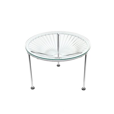 Zica End Table Base Color: Chrome, Top Color: White
