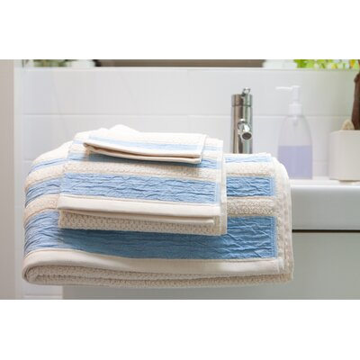Linen/Cotton 550 grams 3 Piece Towel Set with Single Border Color: Blue