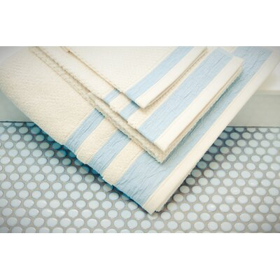 Linen/Cotton 550 grams 3 Piece Towel Set with 3 Stripes Color: Mint