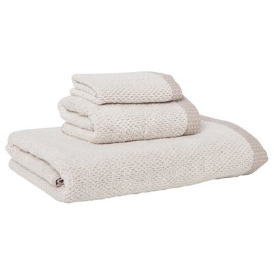 Linen/Cotton 550 grams 3 Piece Towel Set with Single Border Color: Taupe