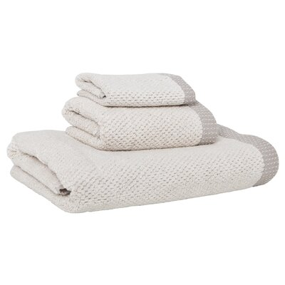 Linen/Cotton 550 grams 3 Piece Towel Set with Single Border Color: Gray