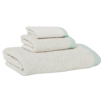 Linen/Cotton 550 grams 3 Piece Towel Set with Single Border Color: Mint