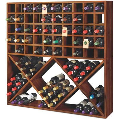 Jumbo Bin Grid 100 Bottle Floor Wine Rack Finish: Walnut