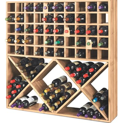 Jumbo Bin Grid 100 Bottle Floor Wine Rack Finish: Unstained