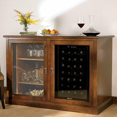 Siena 28 Bottle Single Zone Wine Sideboard Color: Walnut