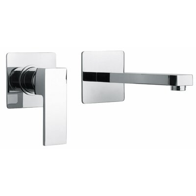 J12 Bath Series Single Lever Handle Two Hole Wall Mount Bathroom Faucet with Linear Matched Spout Finish: Polished Chrome