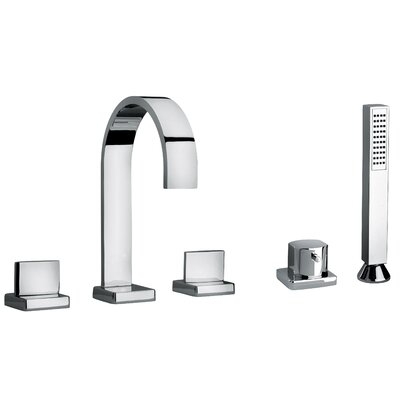 J15 Bath Series Two Lever Handle Roman Tub Faucet and Hand Shower with Classic Ribbon Spout Finish: Polished Chrome