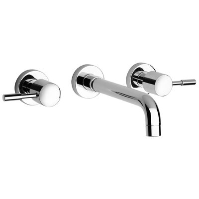 J16 Bath Series Two Handle Wall Mount Bathroom Faucet with Controls and Spout Finish: Polished Chrome
