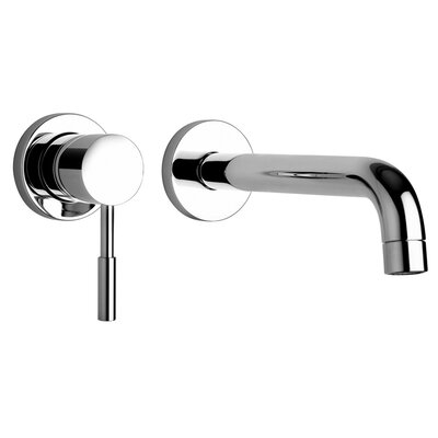 J16 Bath Series Two Hole Wall Mount Bathroom Faucet with Control and Spout Finish: Polished Chrome